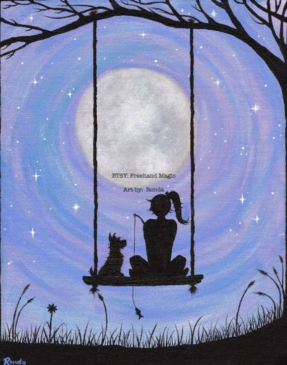 A Girl And Her Dog Sitting On A Swing Under The Full Moon
