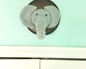 Crochet Faux Taxidermy Elephant Head | Fake Elephant Nursery Taxidermy