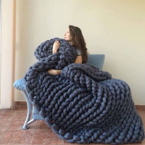Knitted Blanket Patterns Nz : Chunky knit blanket 18 microns Chunky Blanket Merino Wool