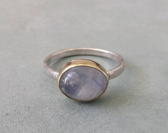 Moonstone ring,14k gold and silver ring ,yellow gold rainbow moonstone ring,bezel moonstone ring,anniversary ring,
