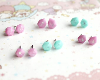 Tiny Pink and Teal Gem Earrings - kawaii gem earrings, fairy kei earrings