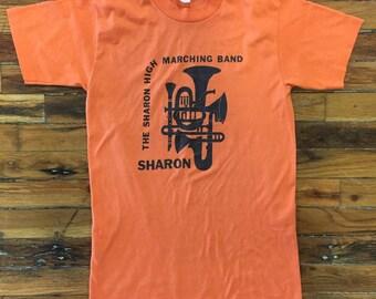 80s vintage tshirt super soft thin The Sharon high marching band brass instruments SKA punk band SportsT small medium graphic tee