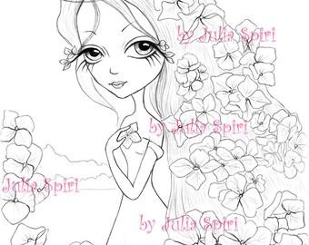 Digital stamps, Digi, Flowers, Girl, Big Eyes, Hydrangeas, Fantasy, Coloring pages, Crafting, Cardmaking, Making cards. Hydrangea