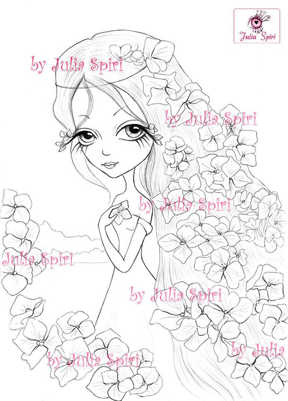 digital stamps digi flowers girl big eyes hydrangeas fantasy coloring pages crafting cardmaking making cards hydrangea from juliaspiri on etsy