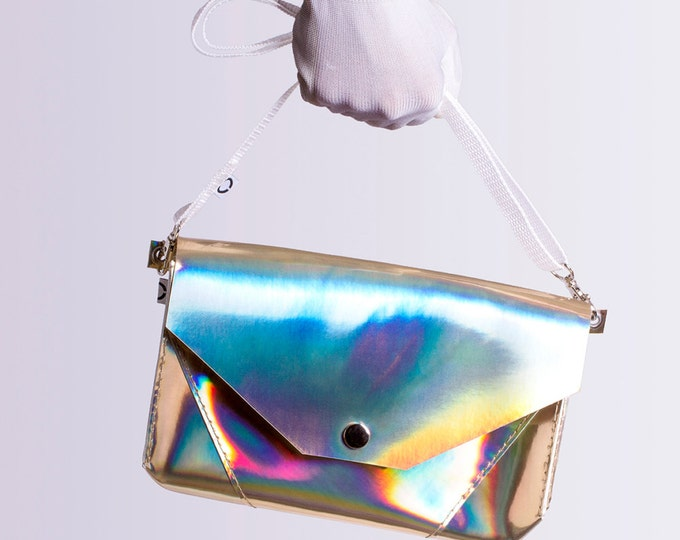 gold holographic bum bag / cross body bag