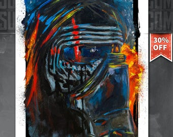 May the 4th SALE 30% off! Kylo Ren, Star Wars, Art Print by Cole Brenner, gift for geeks, nerds, Dark Side, Force Awakens, Movie Poster