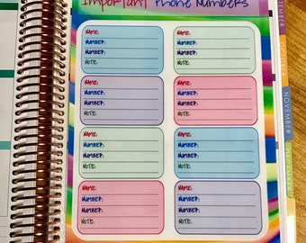 DASHBOARD - Important Phone Numbers for use with Erin Condren or Happy Planner