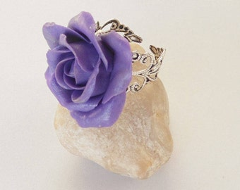 Rose lilac ring polymer clay jewelry rose jewelry gift for her flower ring flower jewelry glamorous ring jewelry shop floral ring boho style