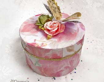 "Vintage Looking Pink Watercolour Floral Paper Mache Jewelry Box, 3.5""w x 2""h , Shells, Gold, Butterfly, Gold tipped, Spring, Rose, Trinket"