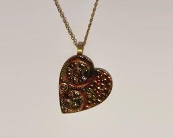 Steampunk heart necklace, antique brass steampunk necklace, steampunk necklace, heart necklace, large steampunk necklace.