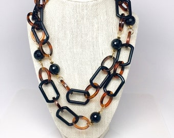Modernist Faux Tortoise Chain Necklace - Black Tortoise Lucite Chain Necklace - Long Strand Plastic Necklace - Sculptural Plastic Necklace