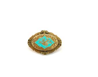 Vintage Freirich Blue Enamel Gold Pin - Antique Freirich Brooch - Victorian Edwardian Oval Blue Enamel Pin - Art Nouveau Art Deco Brooch
