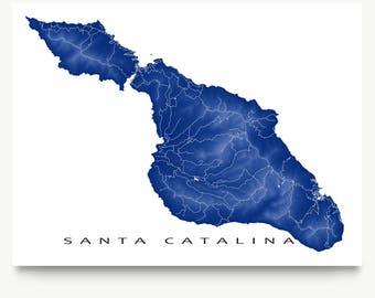 Santa Catalina Map Print, Catalina Island, Calfornia Art, Avalon, Two Harbors