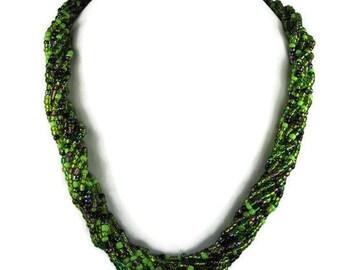 Vintage Green Torsade Necklace