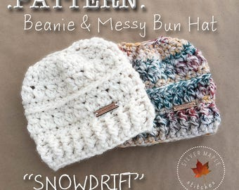MESSY BUN HAT Pattern, Crochet Pattern, Crochet Hat Pattern, Messy Bun Beanie, Ponytail Hat, Bun Hat Pattern, Winter Hat, Winter Hat Pattern