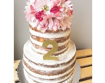 Gold or Silver Birthday Number Cake Topper / 1 2 3 4 5 6 7 8 or 9 / Glitter / Sparkle