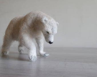 Needle felted bear. Needle felted Animal. Needle felted soft sculpture. Collectible animals.
