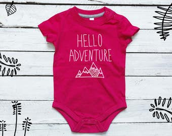 Hello adventure baby onesie baby clothes baby shower gift cute onesie baby boy todler bodysuit baby girl coming home newborn outfit new baby