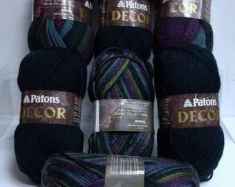 Variegated Patons Wool Yarn Destash Secret Garden Deep Aqua Yarn, Thick Wool Blends, Knitting Yarn for Handmade Scarf or Fiber Art Project