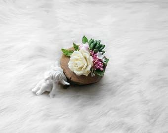 Ivory Flower Hair Clip-Cream Rose clip-Green Flower Clip-Rose Hair Clip-Wedding Hair Clip-Ivory Rose Clip-Succulent Hair Clip-Pink Flower