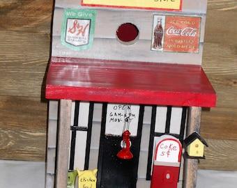 Handpainted birdhouse, Wood birdhouse- Rustic Birdhouse- Primitive Barn Birdhouse-Handmade Birdhouses- Store Birdhouse