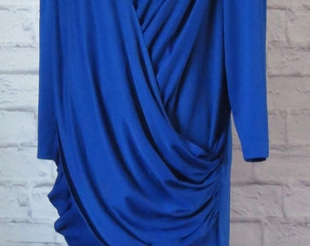 "Size 14 1980s Royal Blue Wrapped Column Dress, Sequin Panel, Below Elbow Sleeves, ""Gilberti"", Double Swags Cross in Front, Below Knee Skirt"