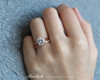 2.32 ct.tw Solitaire Bridal Set Ring-Engagement Ring W/ Art Deco All or Half Wedding Ring-Rose Gold Plated-Solid Sterling Silver [61353RG-2]