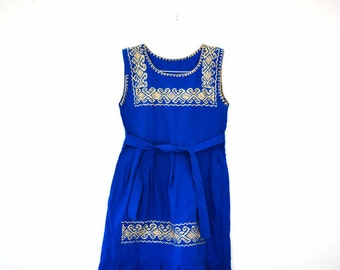 SALE Mexican Hand Embroidered Blue Dress for Girl / From Chiapas