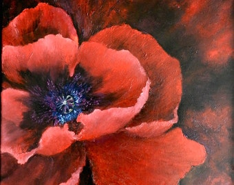 poppy oil painting, poppy art, original painting, poppy painting, floral painting, original painting, red poppy, poppy wall art,  poppy love