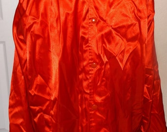 SALE Totally 80's Auburn Red Satin Jacket  XXXL Made In USA