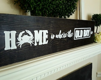 Baltimore Old Bay, Crabs, Maryland Crabs, Home, Distressed Wooden Sign