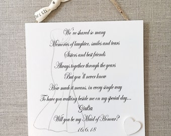 Sister Will you be Bridesmaid Maid of Honour Invitation Wooden Card Gift W272
