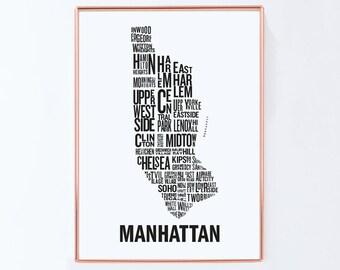 New york map, Manhattan map, Typography Map, Graphic art, USA, Art Typography Poster, New york wall art, NYC Print, NYC Art