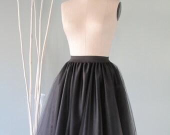 Black Tulle Skirt,Tutu,Tea length,Wedding,Bridal,Bridesmaid,Bachelorette party,Cocktail dress,Evening wear,Tea Party,Thick elastic waist