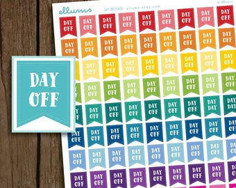Day Off Stickers | PRINTABLE Instant Download | Day Off Planner Stickers | Printable Day Off Flag | fits Erin Condren or MAMBI Happy Planner