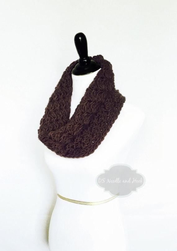 Brown Crochet Cowl, Chocolate Brown Neck Warmer, Short Infinity Scarf, Textured Cowl -  Dark Brown