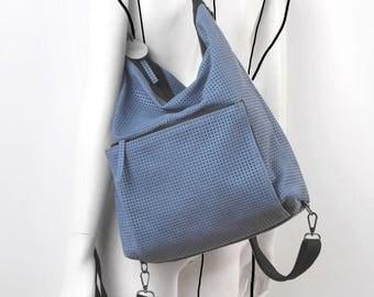 Leather blue perforated hobo bag, shoulder bag, backpack