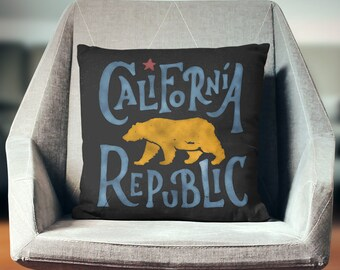 California Flag | California Pillow | California Gifts | California Republic Flag | California Decor - Throw Pillow Cover