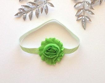 lime green headband, green headband, baby headband, green hairband, Easter headband, flower headband, baby shower gift, chevron headband
