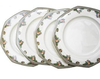 Set of 4 Vintage Wedgwood Pergola Salad Plates, Octagon Plates Ivory China Made in England, Retro Dining Plates