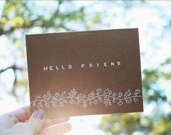 Hello Friend Greeting Card (Hand Drawn)