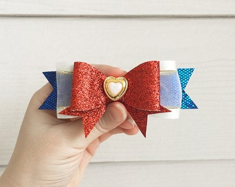 Sailor Moon Bow / Usagi Tsukino Cosplay Costume / Red White Blue Gold Anime Manga Hair Bow / Soldier Senshi Broach Clip-On Barrette