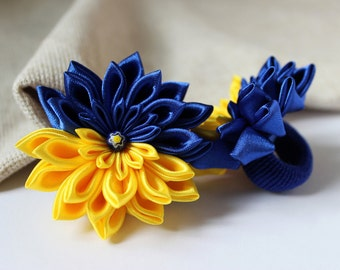 2 ponytail holders Kanzashi blue yellow flowers for hair Baby hair ties Kids accessory Cute Birthday gift for girl Blue hair bow for toddler