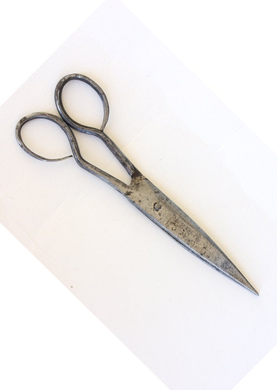 Antique hand forged iron scissors Vintage small iron barbers hair scissors Antique primitive handmade tool Collectible small scissors Shears
