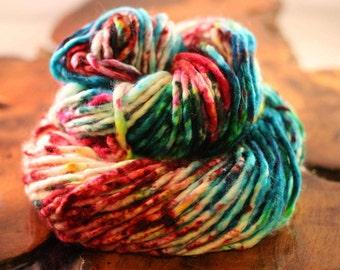 "Hand Painted ""Psychedelic Ramen"", Single Ply Super Bulky, Super Wash Merino, Nylon, Knitting, Crochet"