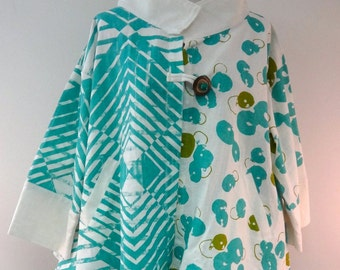 Bright Turquoise Swing Blouse / Jacket with Unique buttons - SP14-5026