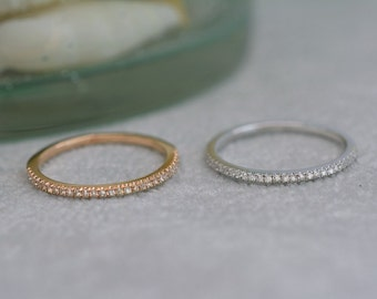 0.15 Carat Stackable Anniversary or Wedding Band in 14k White or Rose Gold