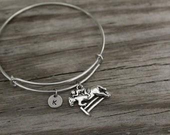 Horse Jockey Bangle Bracelet - Horse Gift - Equine - Equestrian - Thoroughbred - I/B/H