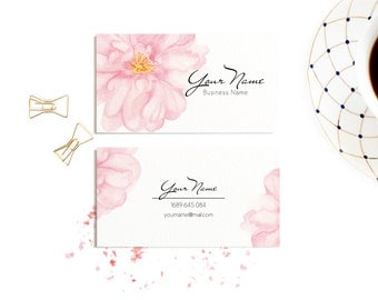 Watercolour business card, Watercolour flowers business card, Pink business cards, Shop business cards, Small Business Branding