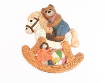 Nursery Wall Plaque,Frankie's Designs 1986 Vintage teddy bear rocking horse